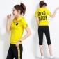 2019新款潮韩版夏季短袖七分裤运动套装女士跑步服连帽休闲两件套