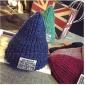 韩国代购新款秋冬尖尖帽混色贴布时尚百搭毛线帽针织帽毛线帽女