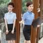 蓝色短袖女装翻领衬衫 大学生校服 面试装 KTV前台收银工作制服