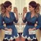2015新款Ebay速卖通货源蓝色圆领长袖印花蕾丝连衣裙女装批发2918