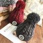 秋冬天百搭保暖加厚毛球毛线帽子字母贴布针织帽护耳潮韩版女混色