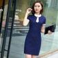 秋季新款职业女装OL时尚条纹短袖西装前台酒店连衣裙美容师工作服