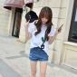 韩模实拍 2016夏季女装 韩版手工磨破全棉牛仔短裤 时尚牛仔裤女